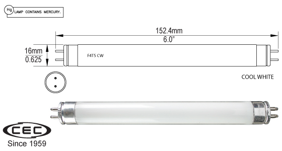 Miniature Bi-Pin Fluorescent Lamps, f4t5cw