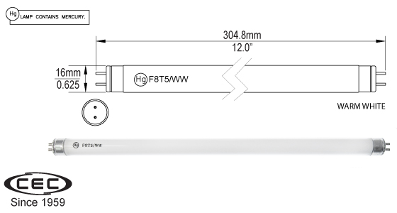 Miniature Bi-Pin Fluorescent Lamps, f8t5ww