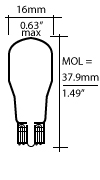 All Glass Wedge Bulbs T-5 on W2.1 x 9.2d Bulb